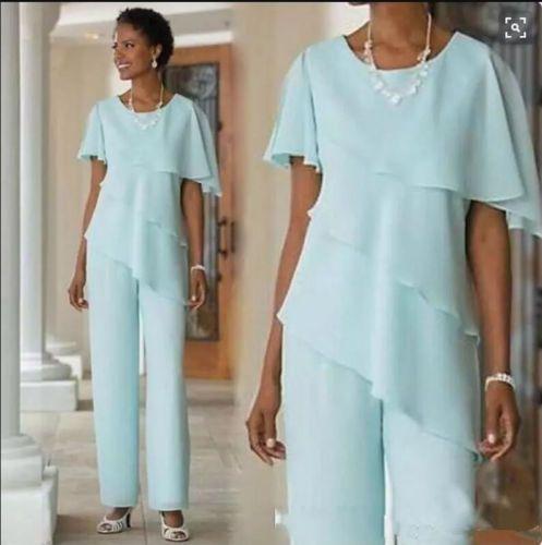 2019 Abiti eleganti per la madre della sposa, pantaloni, chiffon, 2 pezzi, volant a file, maniche corte, mothers, abiti, pantaloni
