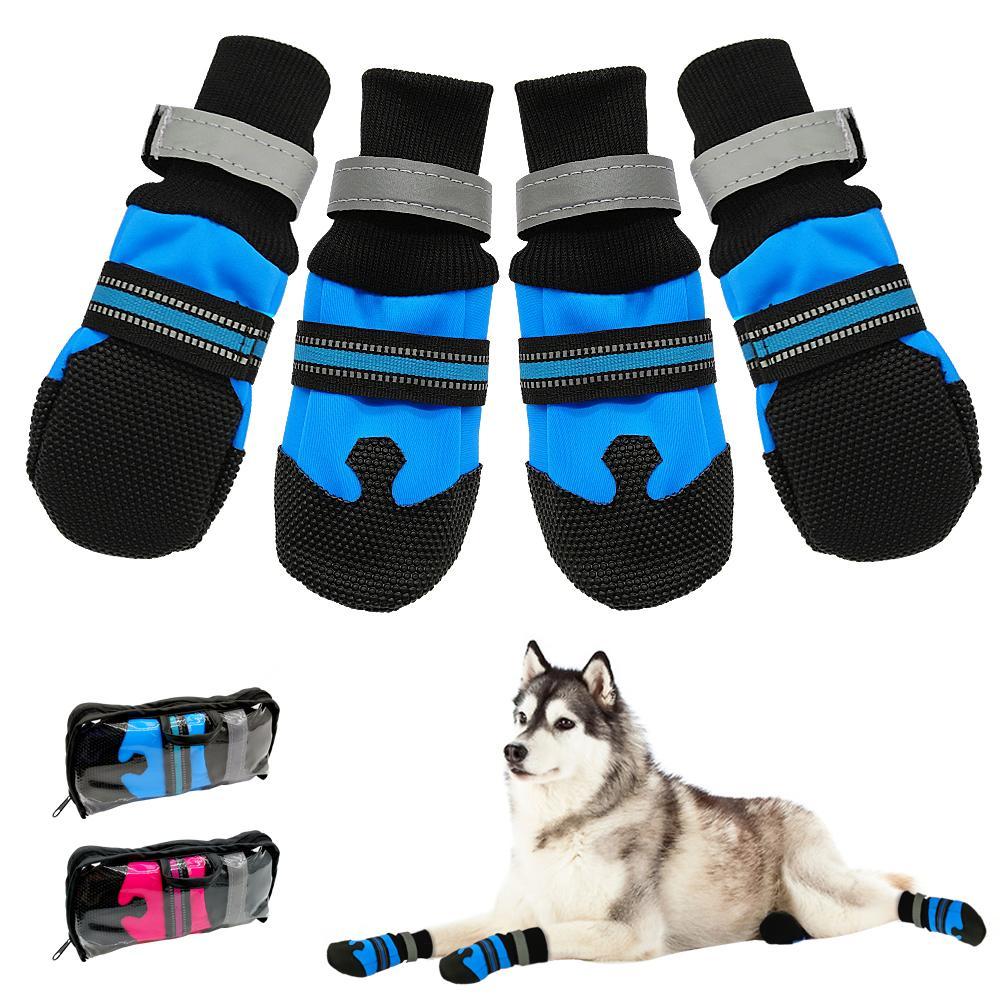 1 par zapatos impermeables para perros mascotas Invierno antideslizante nieve Botas para mascotas de la pata protector caliente reflectantes para Mediano Grande Perros Labrador Husky