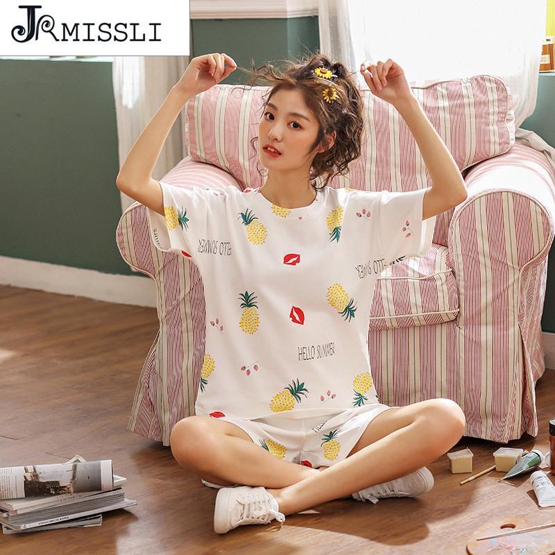 JRMISSLI Pyjamas 2 Piece New Summer Big Size Night Suit Pinapple Print Pure Cotton Women Home Clothes Girl Pajama Set Sleepwear