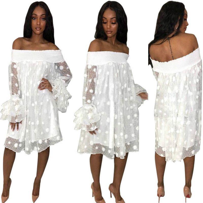 2019 New Arrive Famous Sexy Style Women Dress Dot Print Slash Neck Lace Petal Sleeve Loose Mini Dress Mesh Party Princess Dress Vestido