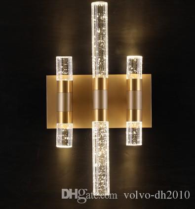 Pós-moderna da bolha de cristal Lâmpada de parede de luxo Led arandela Quarto de banho Espelho de Luz Home Decor Iluminação Luminárias LLFA