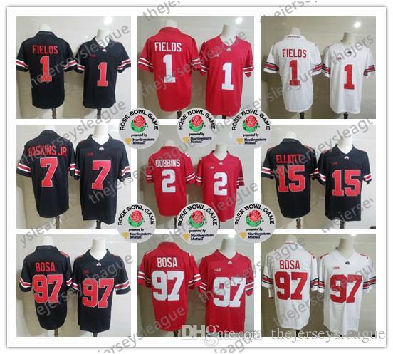Государственные Огайо Buckeyes 2019 # 1 Джастин поля # 2 JK Dobbins # 7 Haskins Jr. # 97 Ник Bosa # 15 Elliott Rose Bowl NCAA Футбол Джерси