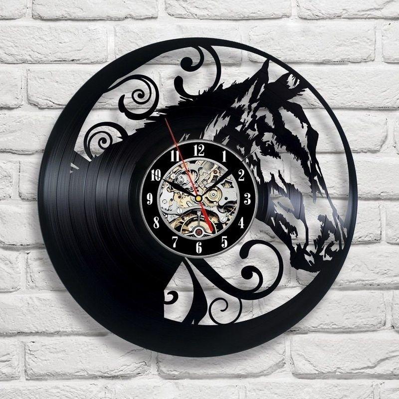 12 inch Horse Vinyl Record Wall Clock Animals Theme Modern Decor LED Wall Clock