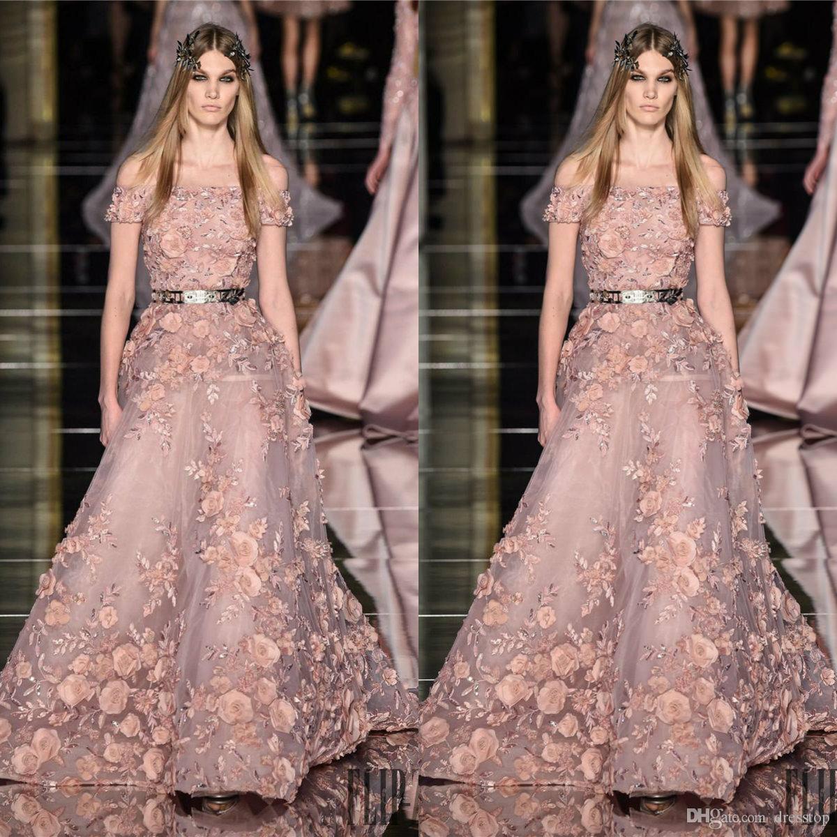 Zuhair Murad Prom Dresses 3D Blumenapplikationen Lange Schulterfrei A-Linie Perlen Abendkleider Sweep Zug Tüll Partykleid Für Frauen