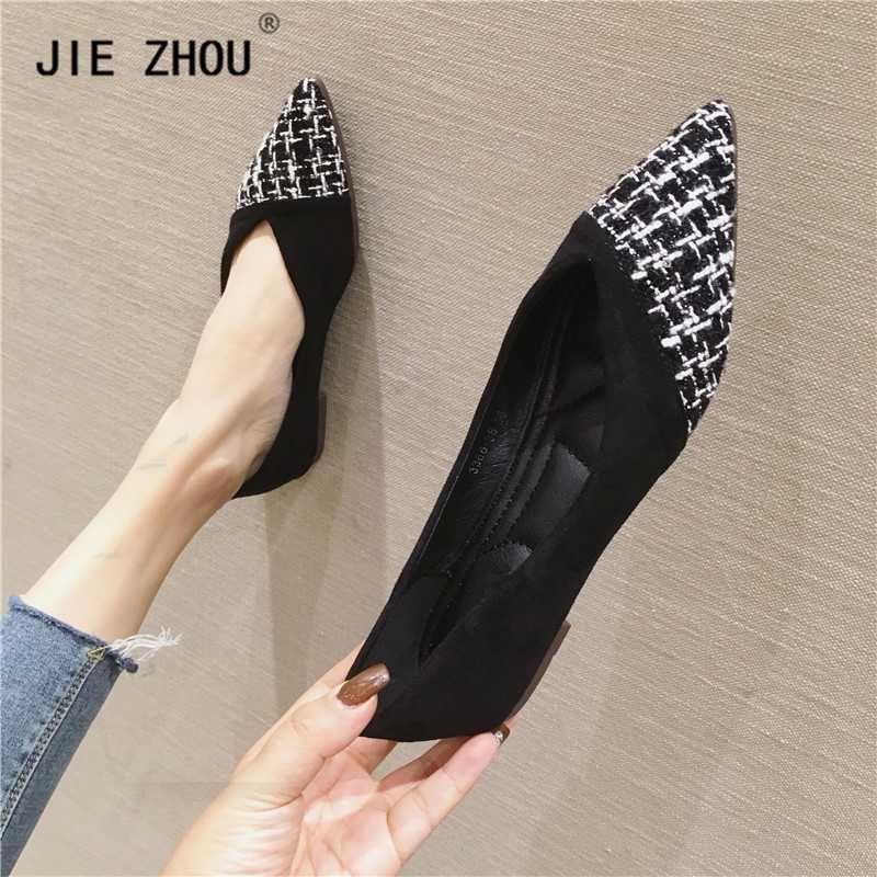 2020 Новая весна Женщины Квартиры Лоскутная Женская обувь Повседневная обувь Одиночные женщина Балерина Мелкий рот Zapatos де Mujer
