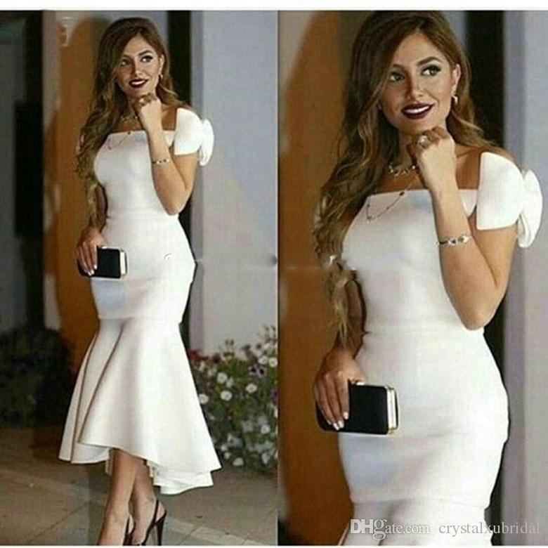 2020 New Arrival Elegant Short White Cocktail Dresses Off Shoulder Bateau Bow Mermaid Ruffle Tea Length Arabic Prom Party Homecoming Gowns