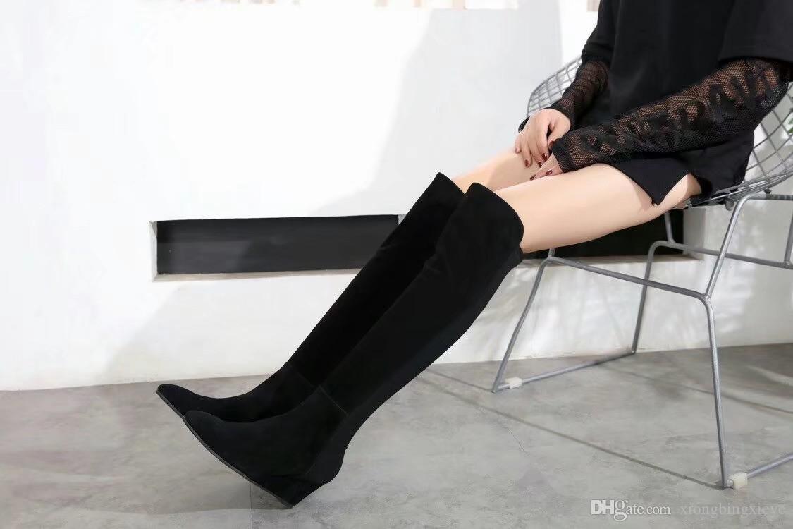 Les nouvelles bottes de luxe de cuir de qualité genou élevés pente élevée élastiques d'épaisseur inférieure chaussures plates talon SW bottes noires