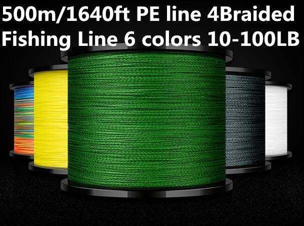 HOT! 500m/1640ft PE line 4Braided Fishing Line 6 colors 10-100LB Test for Salt-water Hi-grade Performance High quality! good price!