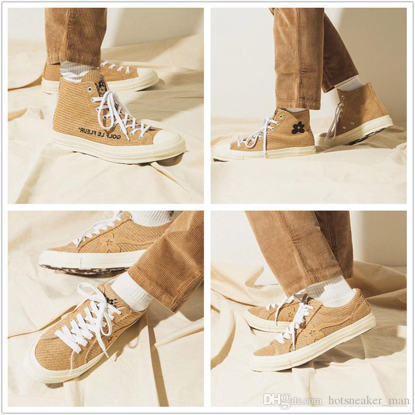 Chuck 70 s Çuval Golf Le Fleur Rahat Ayakkabılar Ayçiçeği Düşük Yüksek OG Yeni 1970 s Bej Tasarımcı Eğitmenler Erkek Kadın Örme Kaykay Sneaker