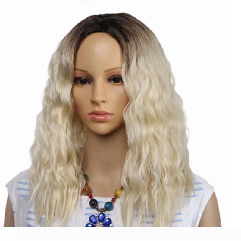 옹 브르 아프리카 변태 곱슬 합성 가발 흑인 여성의 혼합 브라운과 라이트 금발 가발 중간 부분의 가짜 머리 코스프레