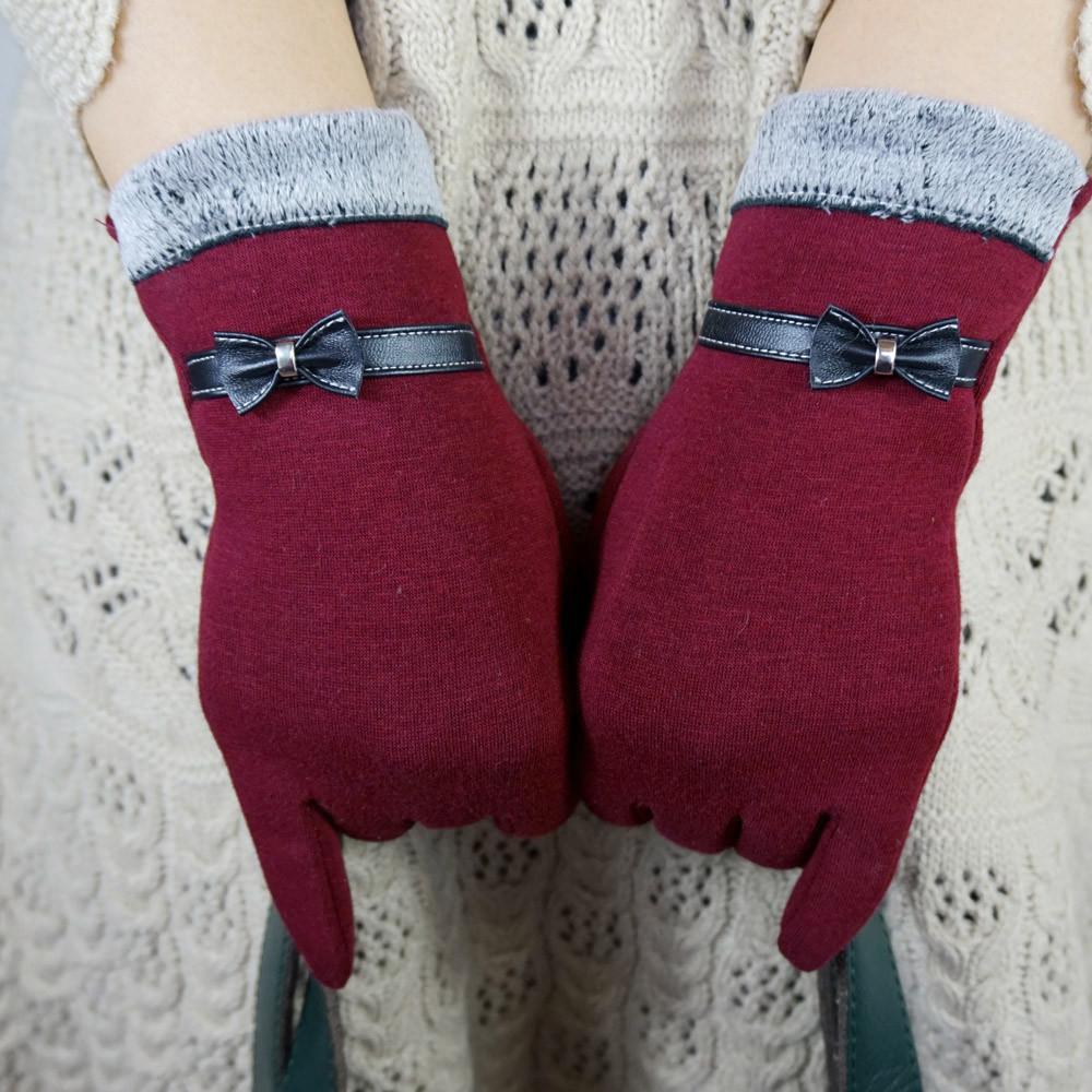 Модно-элегантные женские перчатки экран зимние теплые с бантом мягкие наручные перчатки варежки кашемир полный палец guantes mujer handschoenen