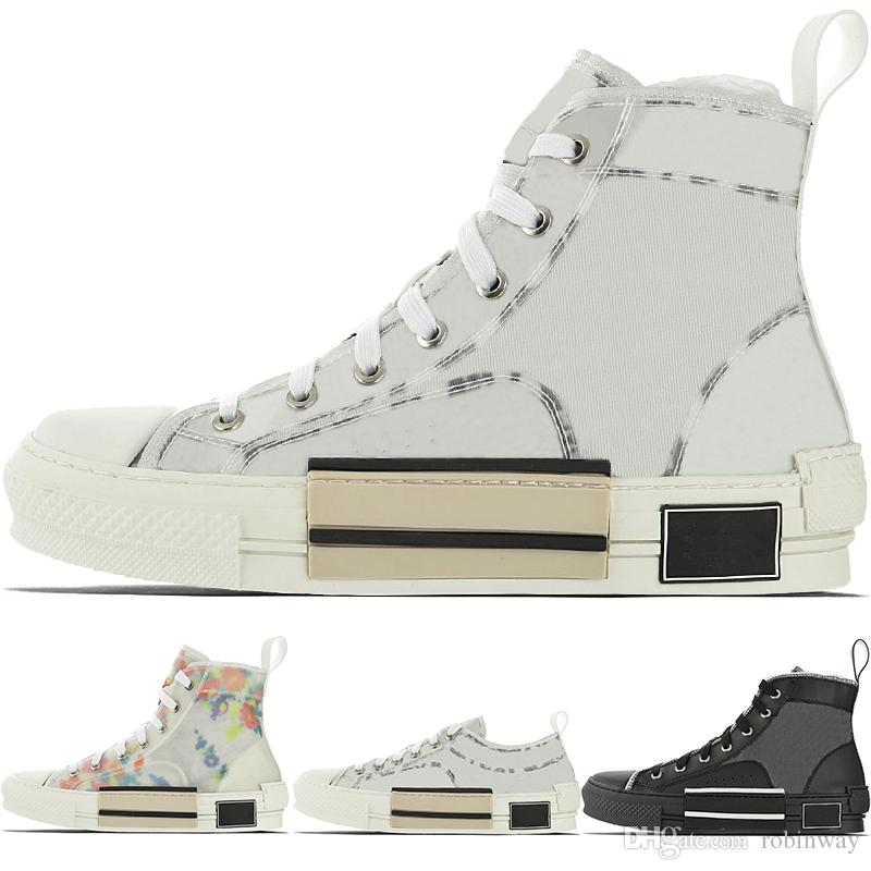 الجديدة عالية الأعلى الزهور الفني B23 مصمم رجالي حذاء رياضة النسائية الأزياء الفاخرة B22 B23 B24 المائل شفاف أبيض أسود CD أحذية عارضة