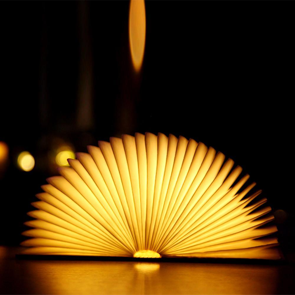 Portable LED Livre Lumière En Bois Fait Couverture DuPont Papier 360 Degrés Pliable Table Bureau Lecture Lampes Décoration De La Maison Éclairage