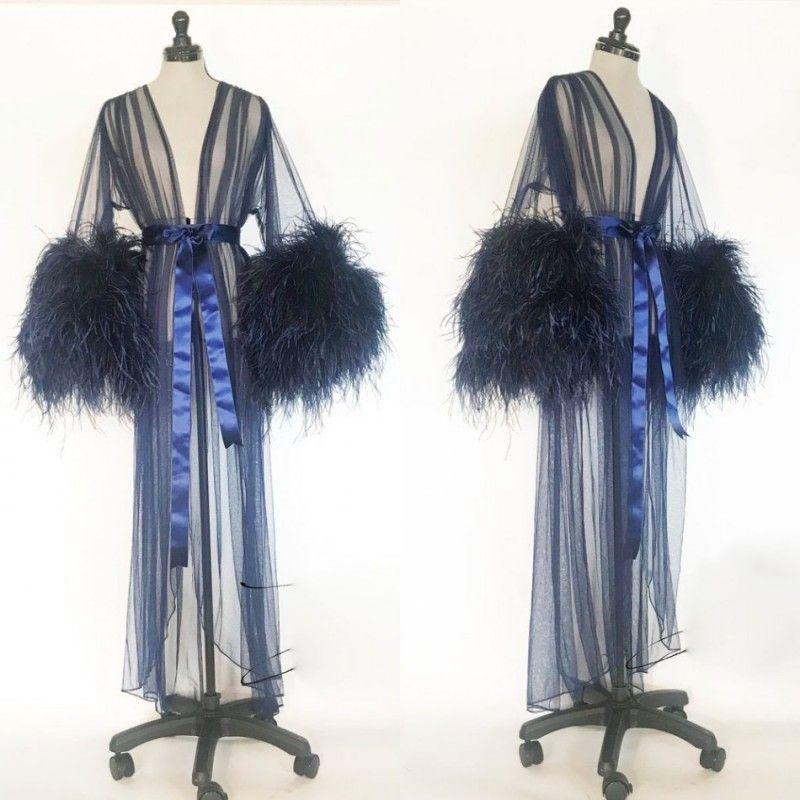 Sexy Women Robe Fur Nightgown Bathrobe Sleepwear V Neck Bridal Robe with Belt Wedding Party Gifts Navy Bridesmaid Dress