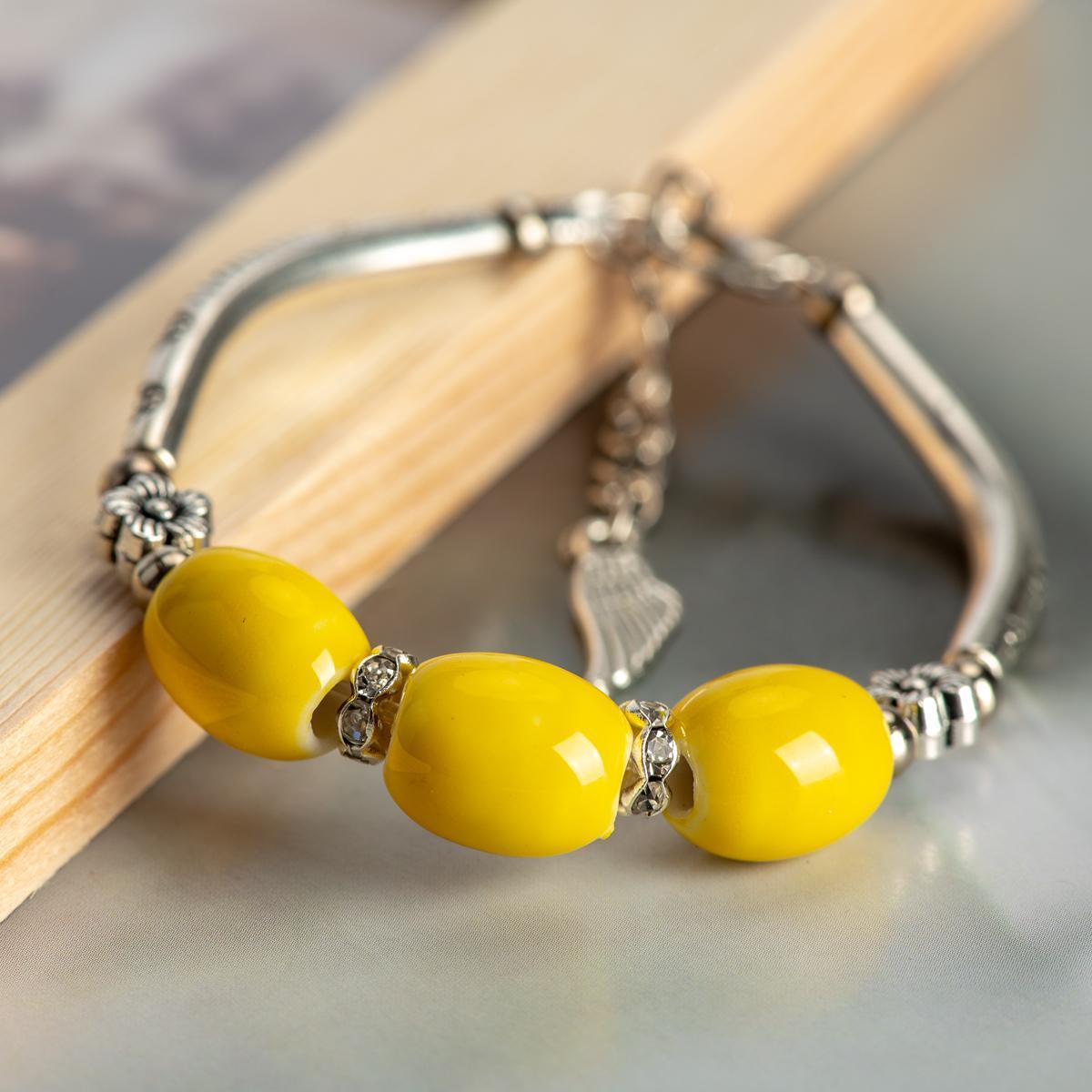 Accesorios de la joyería de China Cerámica Piedra Partido pulseras regalo Cuentas Boho joyería de cerámica para las mujeres envío de la gota # HY566