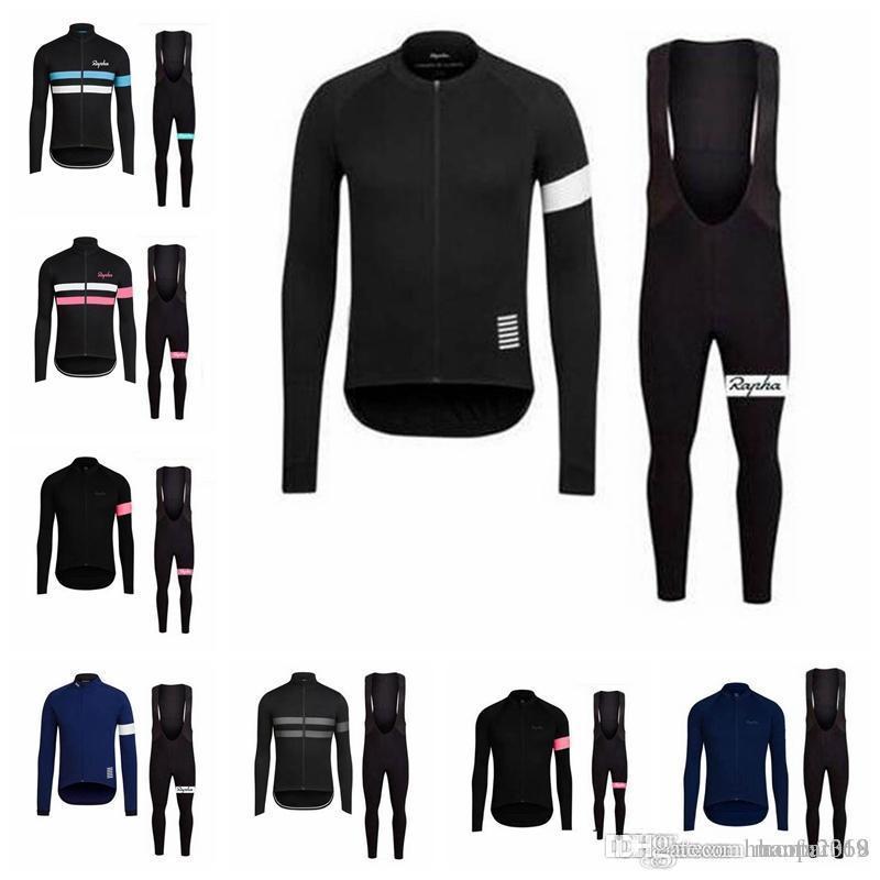 Rapha takımı Bisiklet uzun Kollu jersey (önlük) pantolon setleri İlkbahar ve sonbahar Nefes Bisiklet Erkek Bisiklet Giyim E1427