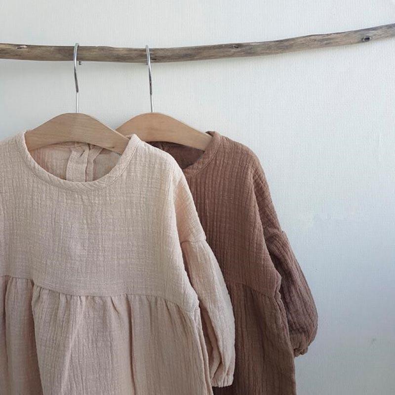 فتاة اللباس Latterm فستان الأميرة الكتان فتاة الملابس الإضافية الحلو طفل أطفال فساتين فتاة عارضة الأزياء الكورية اليابان الملابس Y200102