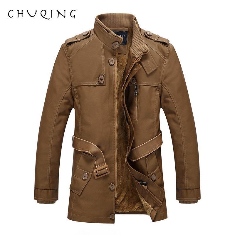CHUQING 2019 Nueva chaqueta de cuero larga de los hombres del otoño y del invierno Chaqueta de cuero ocasional de los hombres