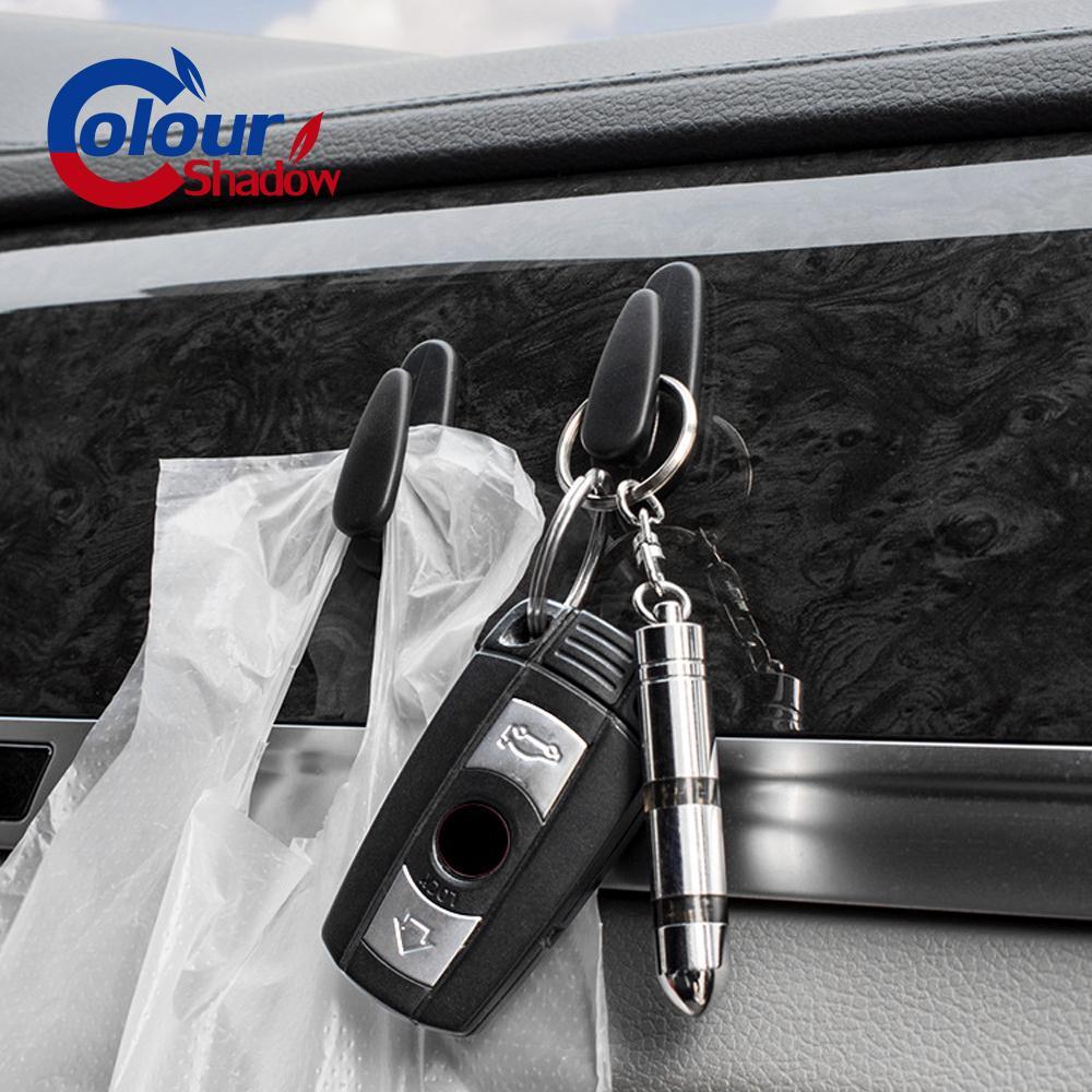 4 ADET Yeni Stil Yüksek Kalite 2pcs Kullanışlı Siyah Oto SUV Araç Kamyon Kendinden yapışkanlı Kanca Askı Çanta Çanta Düzenleyici Tutucu