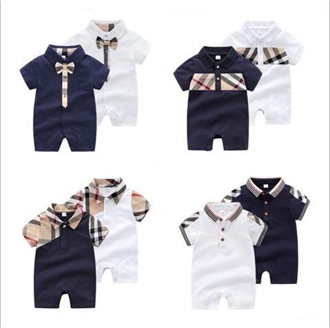 Retail 2020 nuovi pagliaccetti del bambino di marca vestiti di estate del bambino brevi tute del manicotto Turn-giù il collare infantile del cotone Onesies bambini di un pezzo