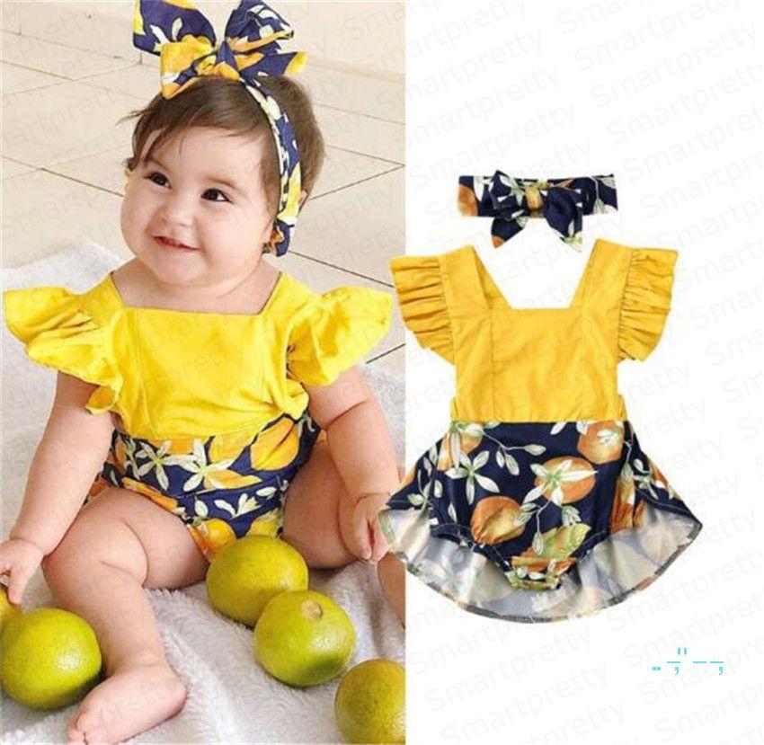 Bébé fille Romper robe d'été bébé Halter jupe à volants Combinaisons manches bretelles Tenues Bodys Bandeaux Deux Set Pieces E33002