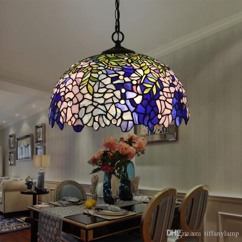 16 Inch Tiffany Wisteria luminária Retro Europeia candelabro luminária criativa Quarto Estúdio Restaurante Bar Pendant Light