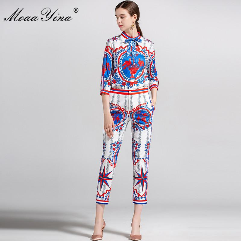 MoaaYina moda diseñador Runway Set verano mujeres Stand collar 3/4 manga Vintage Floral impresión elegante Tops + 3/4 lápiz pantalones conjunto