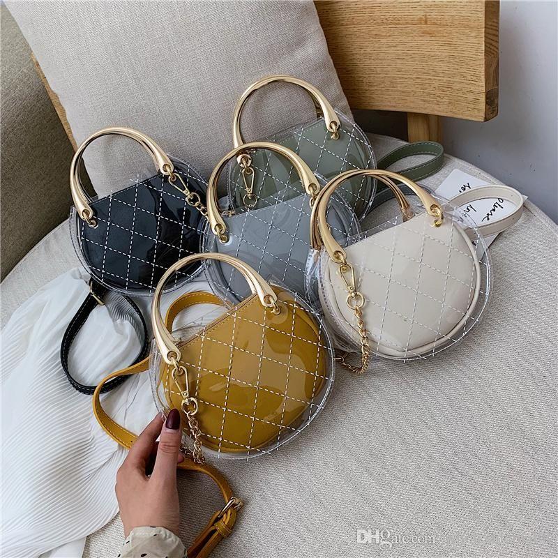 Luxury Design Circular Crossbody Bags for Women 2019 PVC Transparent Small Handbag Women Bags Designer Clear Bag Clutch Purse SAC A MAIN