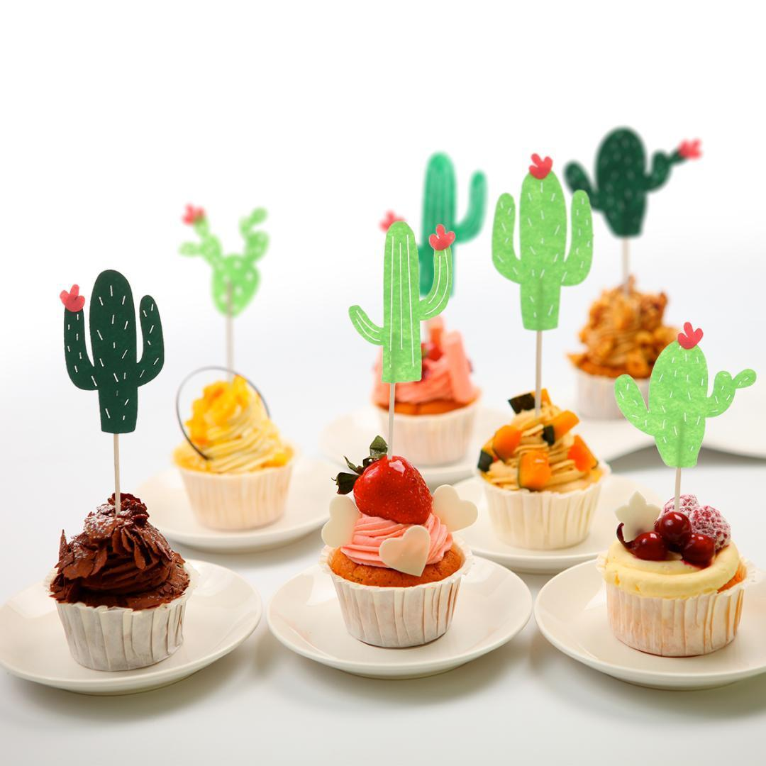 24pcs Hawaii Style Cake Decorating Topper Cupcake Toppers Toothpick Cactus Shaped Cake Topper Decor Baby Shower Wedding Party