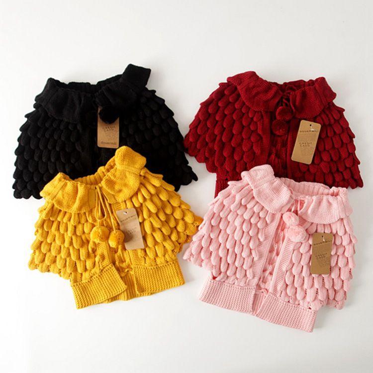 Varejo Novo outono crianças cardigan manto bebê meninas oco de malha de algodão design de cor sólida camisola outwear crianças boutique roupas roupas
