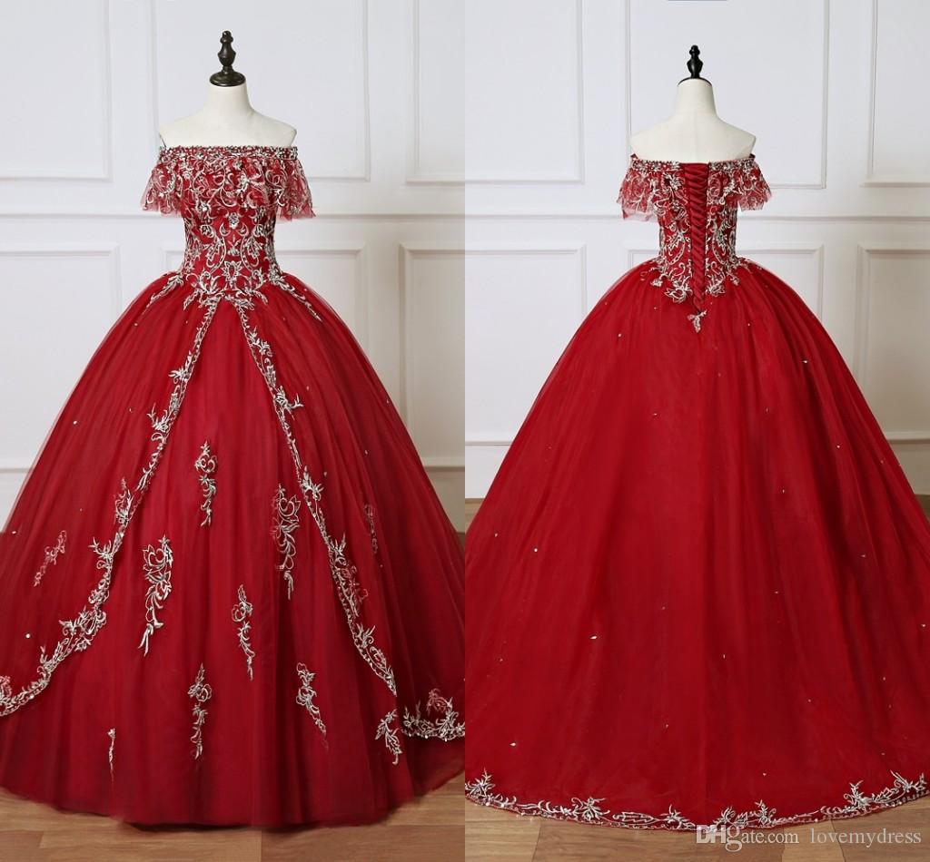 Burgundy Quinceanera Dresses 2020 Long Cheap Ball Gown Prom Dress Sweet 16 Girls Off shoulder Sliver Embroidery Vestidos 15 anos
