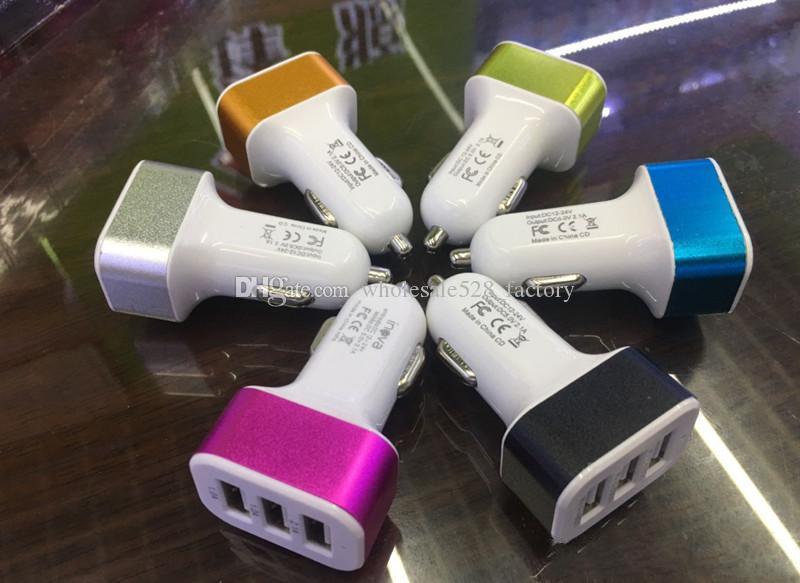 스마트 폰 삼성 태블릿에 대한 보편적 인 트리플 USB 차 충전기 어댑터 USB 소켓 3 포트 차량용 충전기