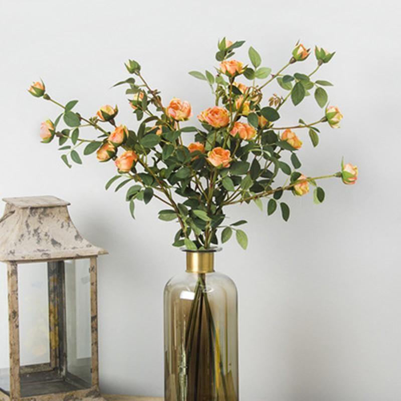La decoración del hogar Mini Tea Rose flores artificiales decorativo de la boda ramo de flores falso rosa de té 6 cabezas / bouqet