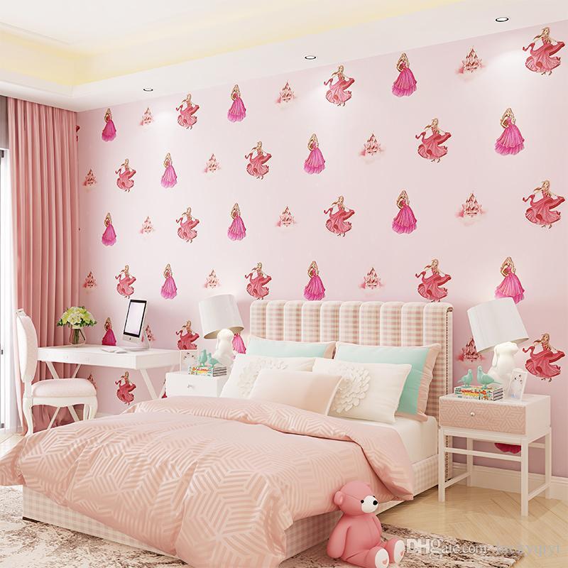 Startseite TV Wanddekoration Umweltschutz Cartoon Tapete 3D Kinderzimmer Tapete Vlies Mädchen Schloss Prinzessin Raum Schlafzimmer