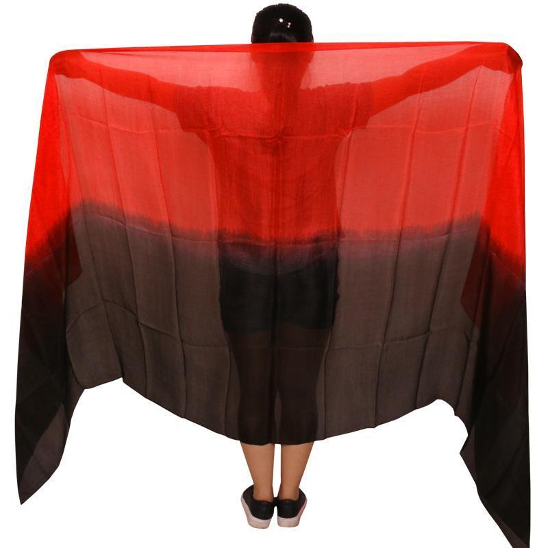 100% реальный шелк танец живота вуаль 250/270*114 см градиент цвет черный + красный ручная роспись танцевальные аксессуары шелковые вуали могут быть настроены