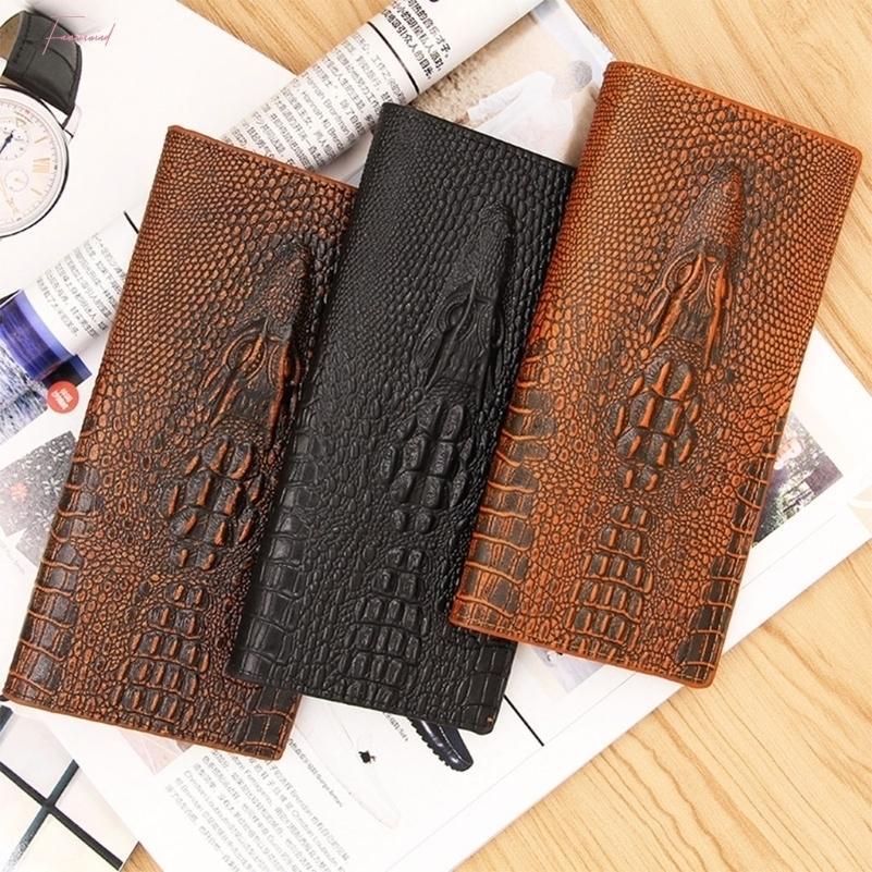 Mens alligator 3D Wallet Bifold carte d'identité Porte-bourse d'embrayage Long Case Billfold Drop Shipping Bonne Qualité