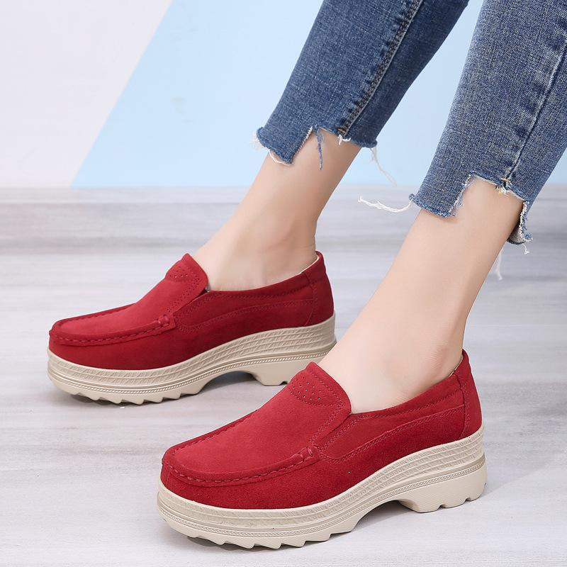 42 Primavera e plataforma de Outono Grosso Bottomed sapatos de couro das mulheres genuíno Casual Shoes Deslizamento-em Loafers Mom