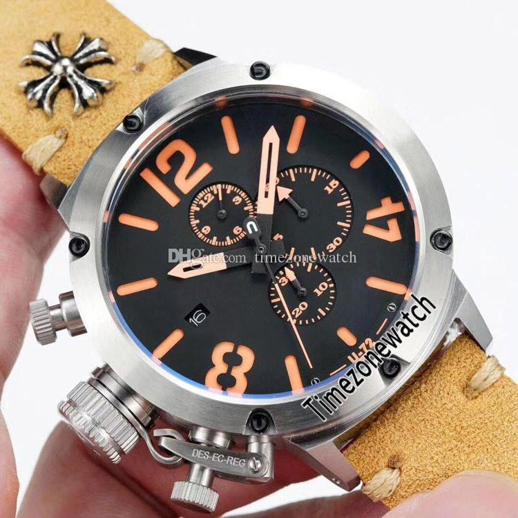 New Flightdeck U-72 U72 VK Cronografo al quarzo Orologio da uomo Cassa in acciaio Quadrante nero Segno arancione Cronometro in pelle mano sinistra Cronometro E01a1.