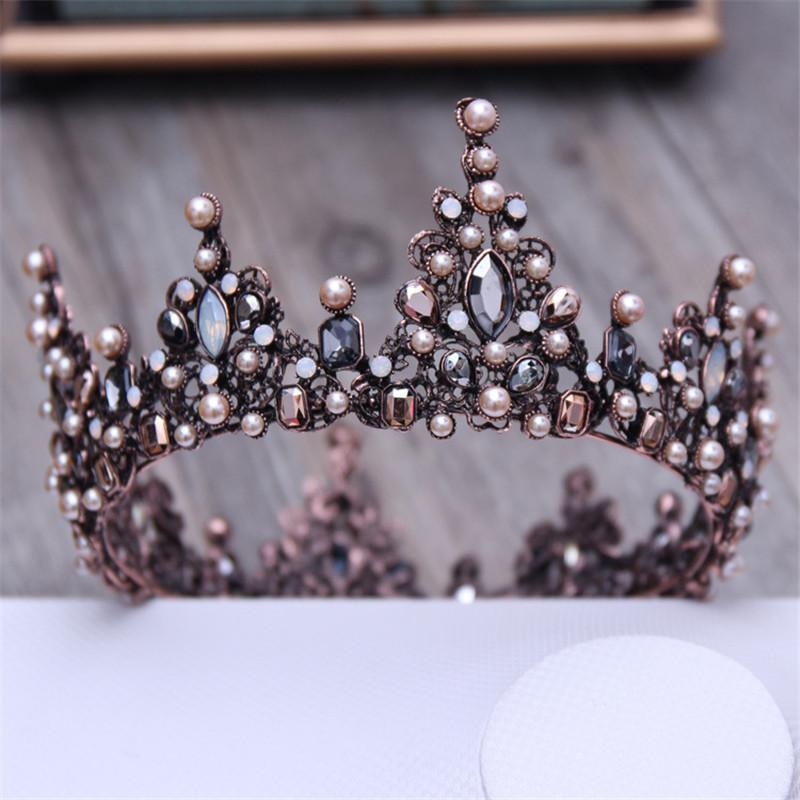 Vintage Crystal Black Round Baroque Tiaras And Crowns Headdress For Women Or Men Bridal Wedding Head Jewelry Accessories J 190430