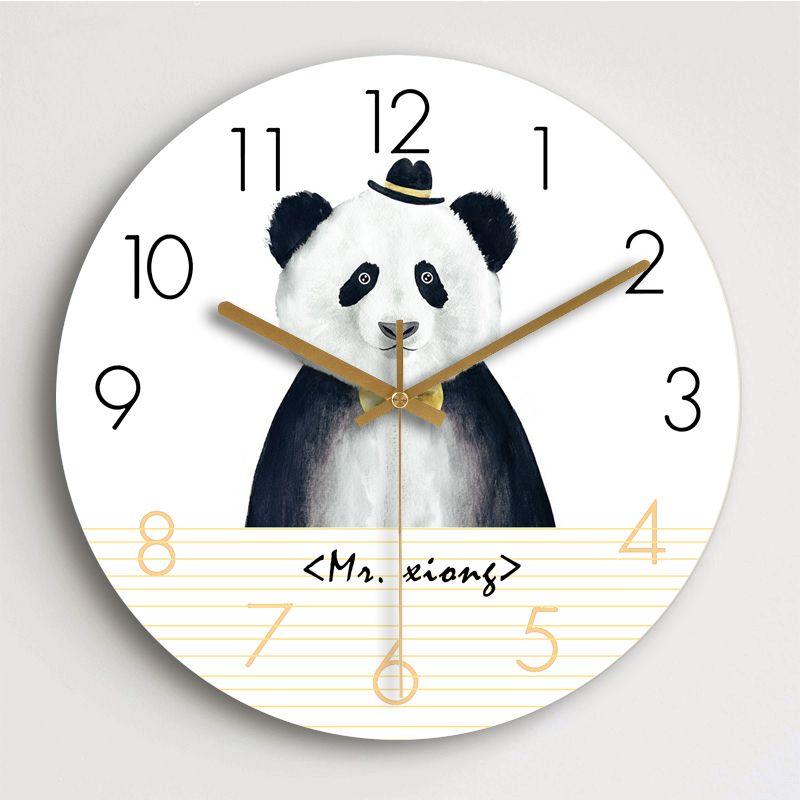 Творческий мультфильм Cute Panda настенные часы для детской комнаты Silence Деревянные стены часы Home Decor бесшумный