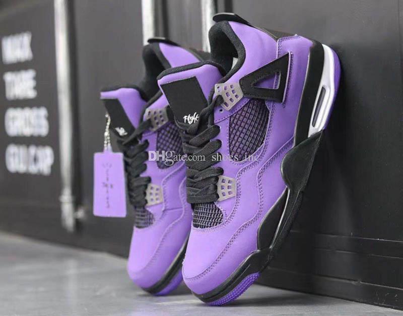 2019 Hot Release Travis Scott x 4s IV Cactus Jack Scarpe da basket per uomo Purple Retro Sports Sneakers Scarpe 7-13