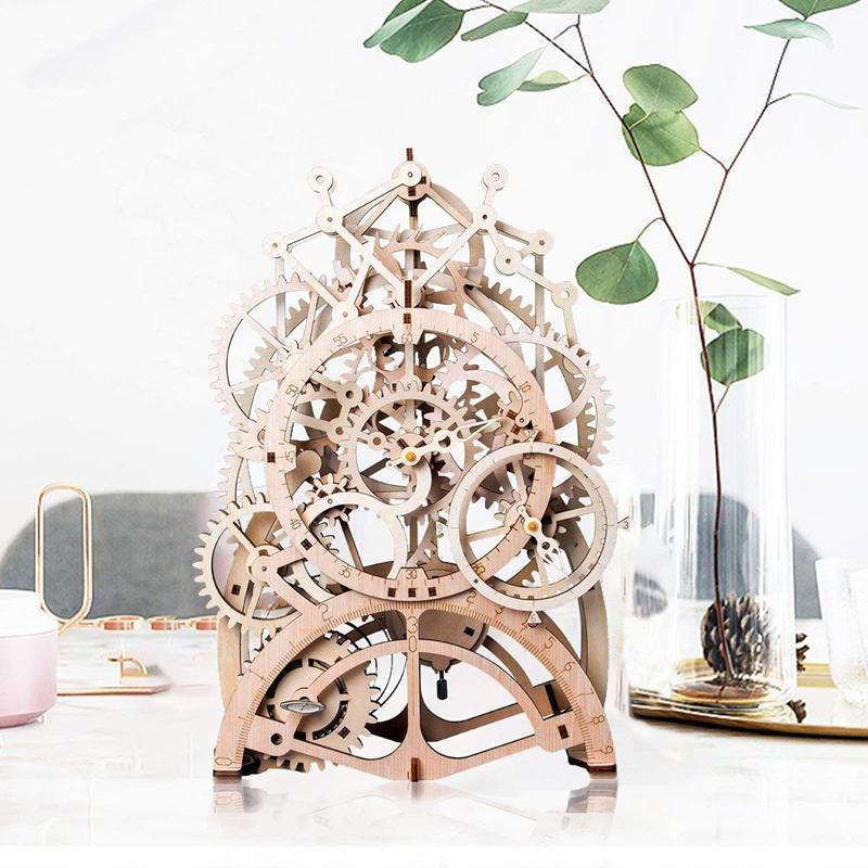 Vintage Décoration intérieure bricolage Artisanat en bois horloge à pendule Modèle Kits Décoration mécanique mur Montre vitesse Clockwork pour cadeau