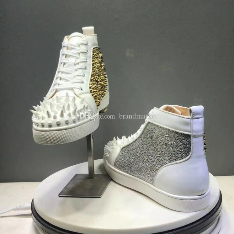 New Arrival Woman Causal Designer Shoes Man Sneakers Comfortable High Top Crystal Spikes Red Sole Black Blue Shoes Drop Shipping