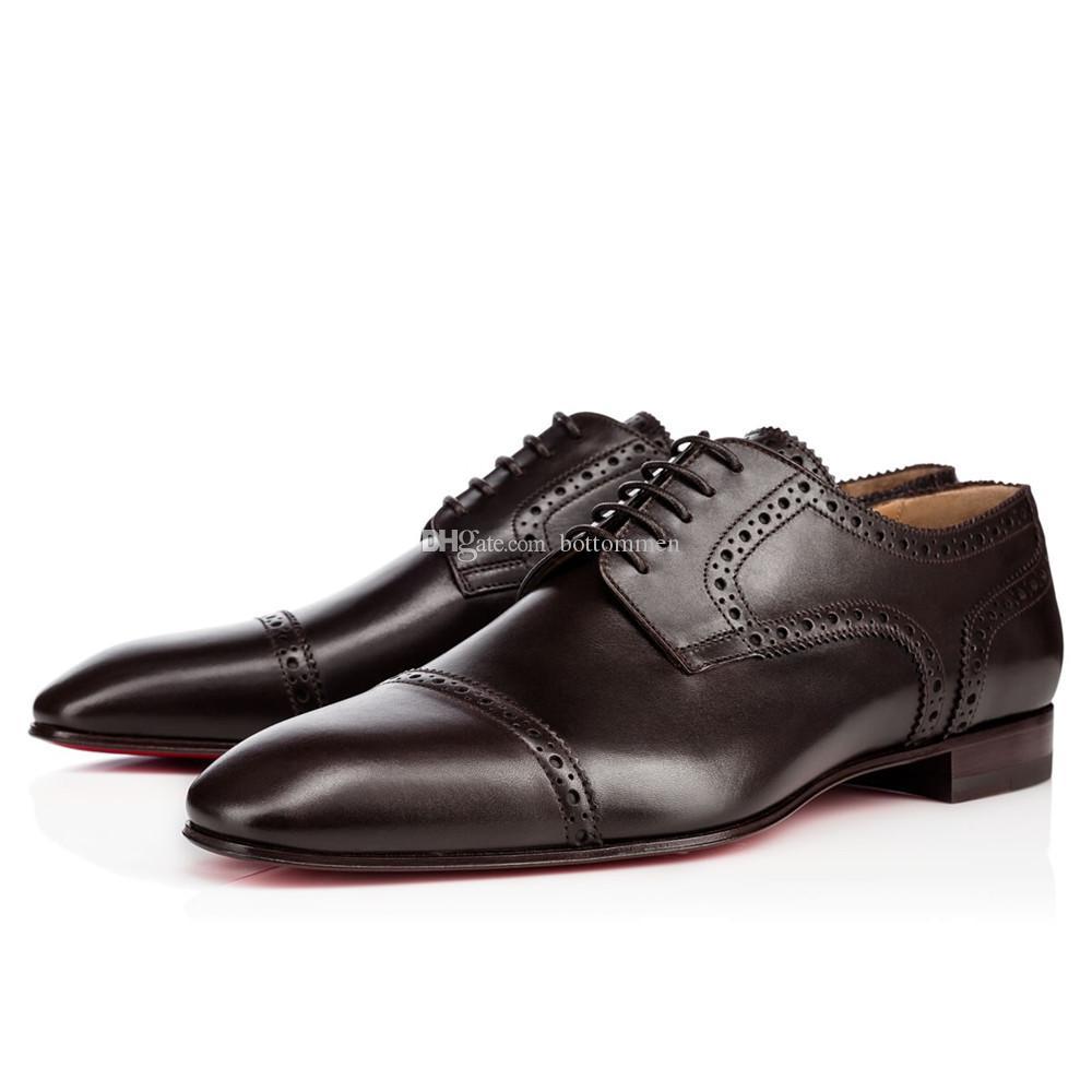 Элегантный джентльмен с красной подошвой обуви Charles теленок натуральная кожа Flat обувь Оксфорд мужская Идеальный Walking Квартиры Wedding Party бездельников