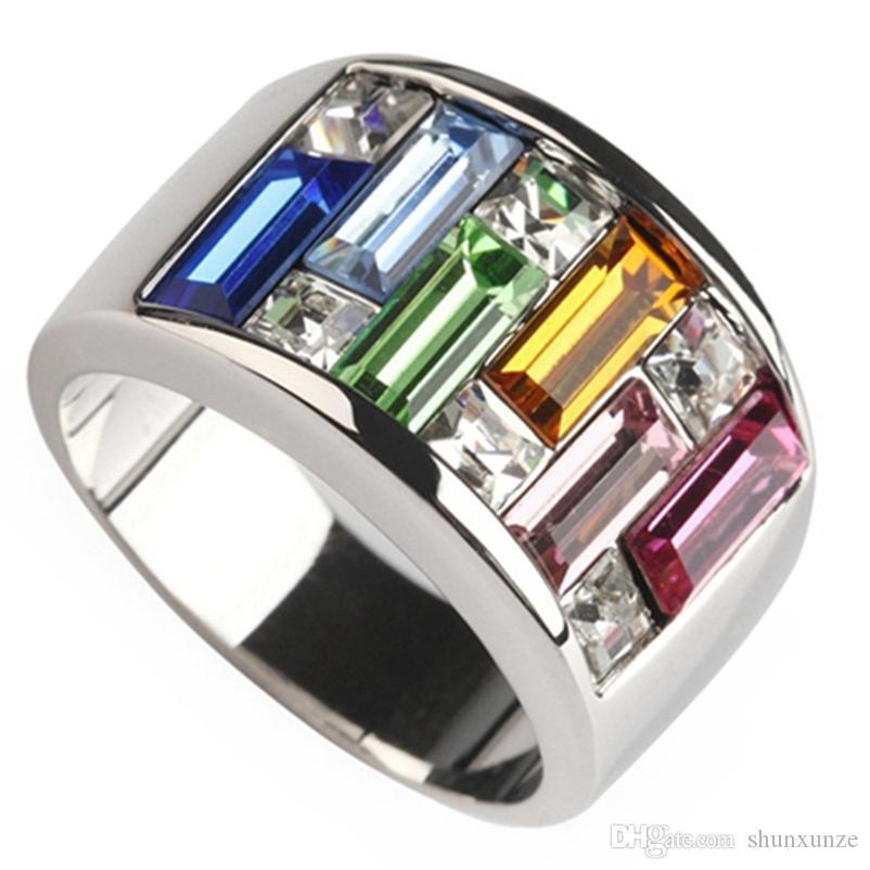 SHUNXUNZE produtos de primeira classe anéis de casamento de noivado para as mulheres Rosa Verde Azul Laranja Vermelho Cubic Zirconia ródio tamanho R405 6 - 12