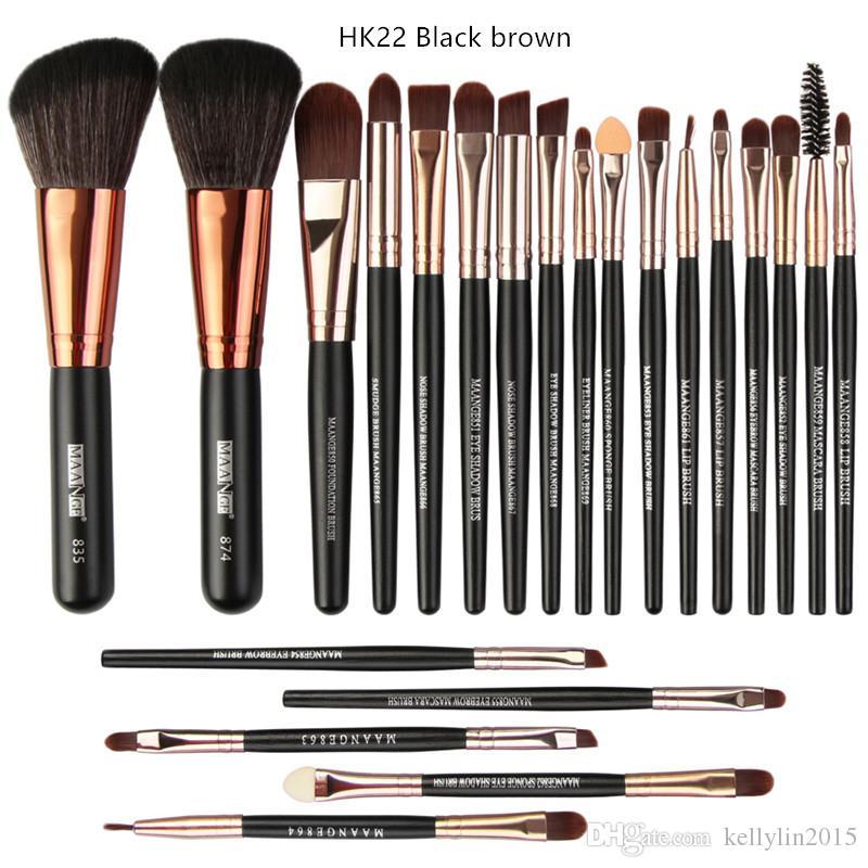 Professional Makeup Brush Set 22pcs Wooden Handle Concealer Large Powder Lip brush Eyeliner Eyeshadow Multifunction Make up brushes Tools