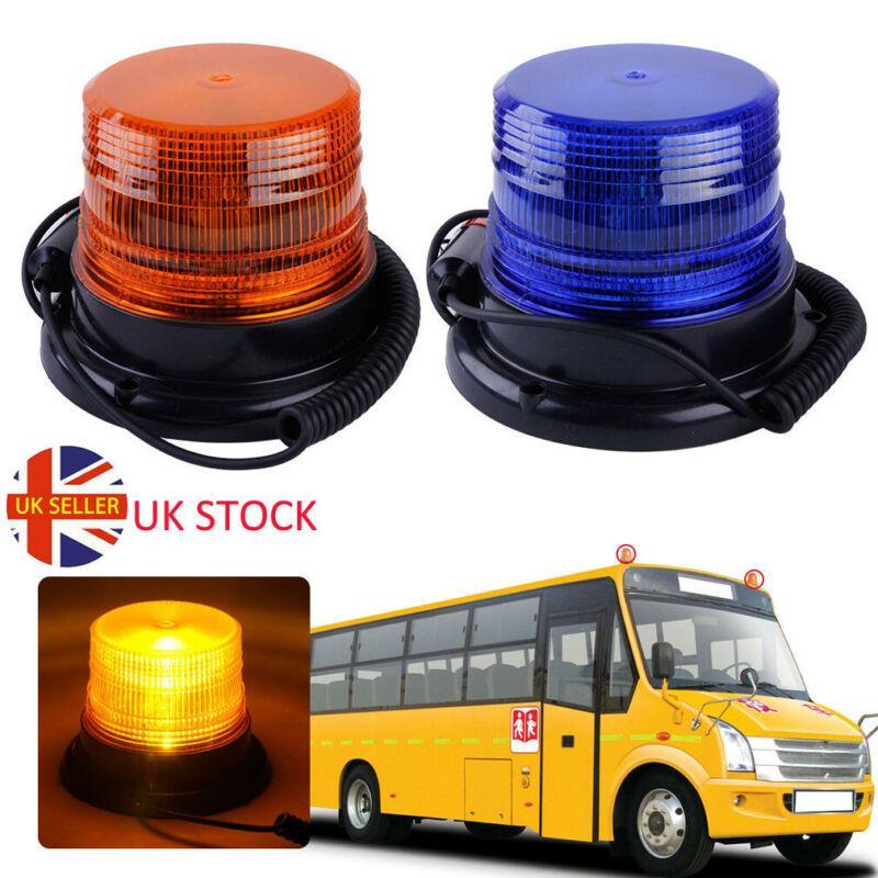 Voiture Bus Beacon Strobe Véhicule d'urgence sur le toit Gyrophare magnétique Mont Avertissement Alarme flash LED Ambre clair DC12V / 60V Royaume-Uni