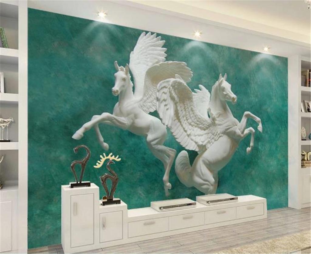 Fondo de pantalla en 3D con fondo de pared en 3D para el arte 3D de relieve en el lado del caballo, doble caballo