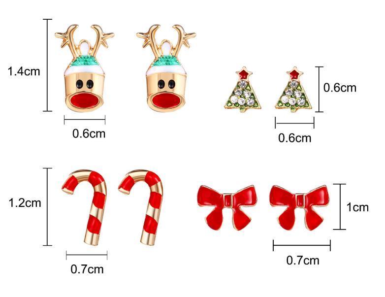 4 Пары Мультфильм Рождественская елка Серьги Рождественская елка Серьги Hear Head Cane Hears