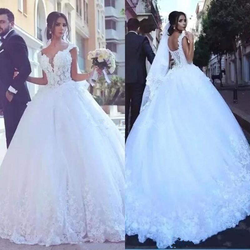 Gorgeous Lace Ball Gown Wedding Dresses Sweetheart Illusion Bodice Appliques Sweep Train Saudi Arabia Bridal Gowns Cheap Vestios De Novia